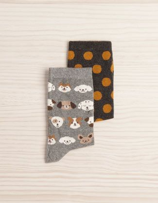 Pack of dog and polka dot pattern socks