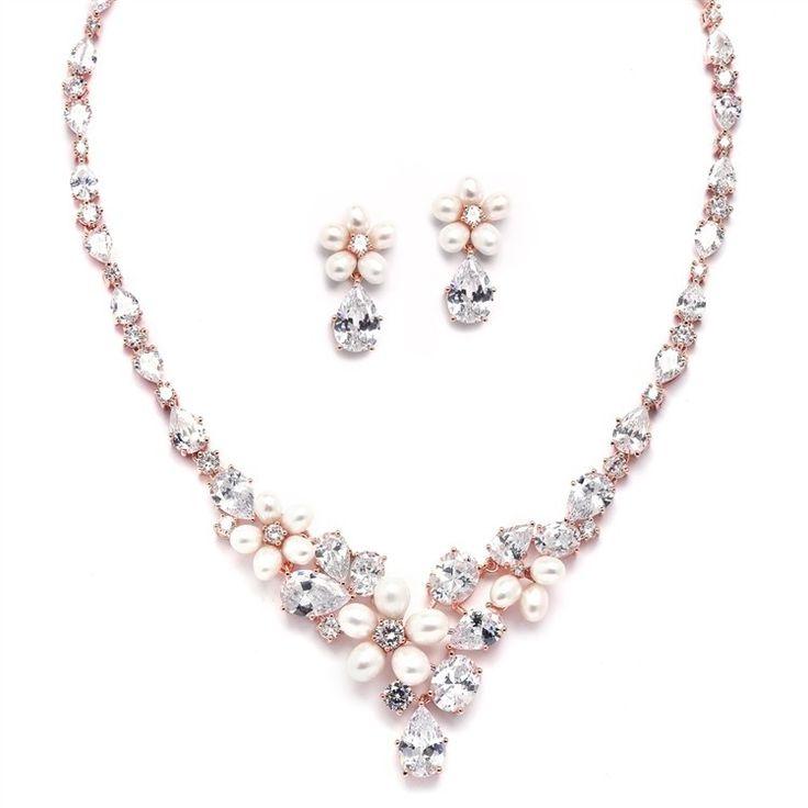 €179 Ravishing Rose Bruidssieraden Bruid Ketting Collier Oorbellen Set Trouwen Rosegold Ibiza Parel Crystal Statement