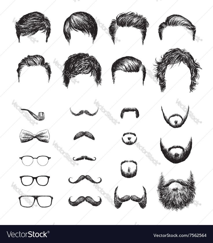 Set of different Hipster haircuts, beards, glasses, bowtie and pipe . Download a Free Preview or High Quality Adobe Illustrator Ai, EPS, PDF and High Resolution JPEG versions.