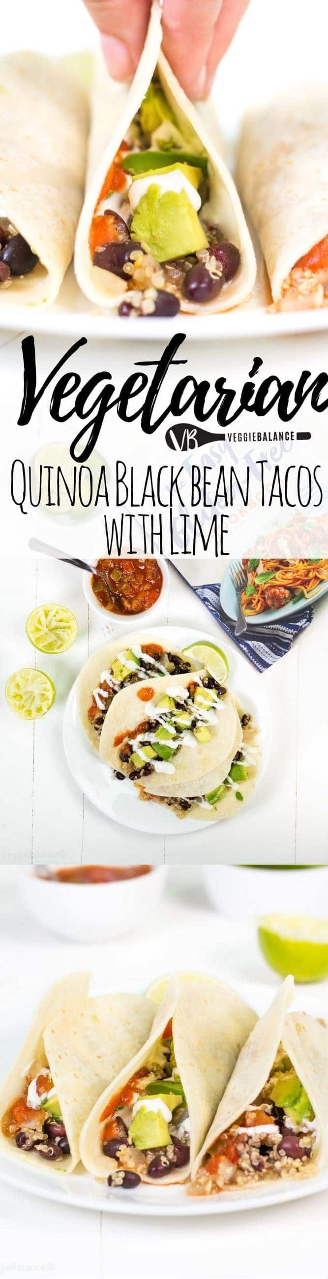 quinoa black bean tacos with lime recipe for those quick and healthy weeknight dinner meals. in under 30 minutes you'll be spooning this vegetarian taco filling into a warm corn tortilla. win. (gluten-free, dairy-free, vegan, nut-free)
