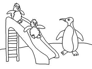 Çocuklar için slayt karikatür boyama kitabı ücretsiz yazdırılabilir sevimli penguenler