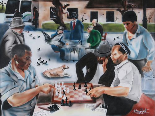"""Urban Moment #3 - Chess at the Park  Acrylic on Canvas.  Chess is my favorite game because it is so strategic and empowering in many ways. I wanted to paint a community setting that involves a game that I play everyday. This is a central part of my """"Urban Moment Series""""."""