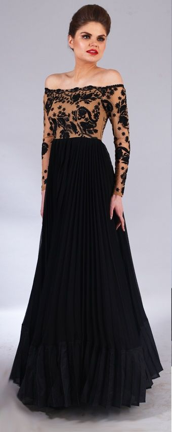 Fresh Cocktail Outfit Black Off Shoulder Cocktail Gown with Sheer Sleeves and Black Threadwork