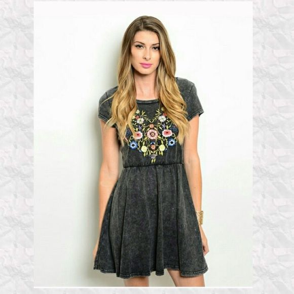 New Listing Dark Acid Wash Dress Gorgeous dark wash with multicolored flower embellishments. Lightweight and perfect for warm weather. 100% cotton. NWOT. Trades Holds Payments outside of Posh Dresses Mini