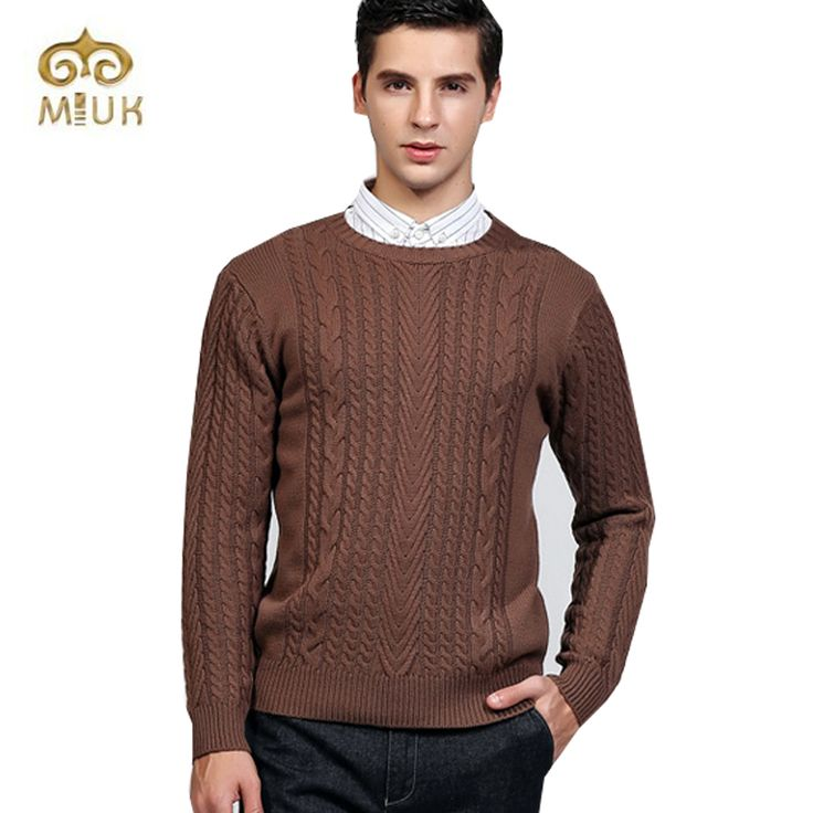 MIUK 2017 New Arrival Solid Gray Coffee White Orange Woolen O-neck Casual Knitted Sweaters Erkek Kazak Maglioni Da Uomo
