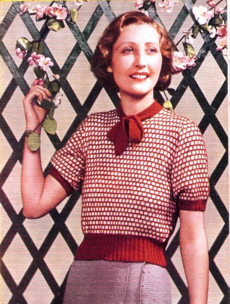 Slip stitch jumper from Stitchcraft magazine no 6 june 1933