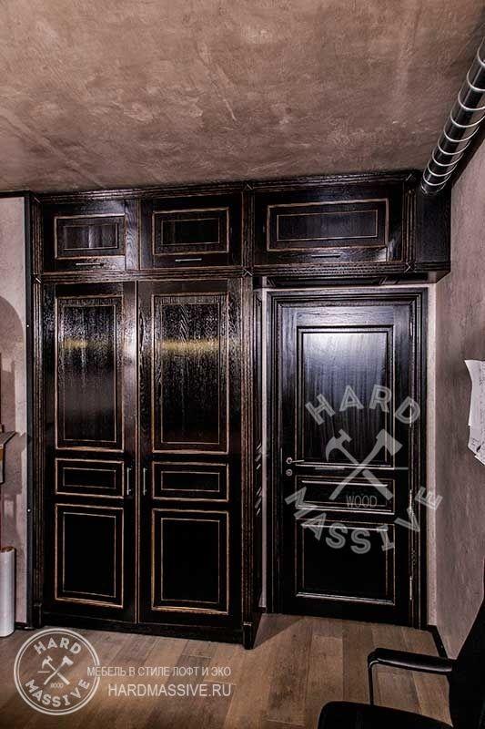 Шкаф Лофт черный. Шкаф для одежды с антресолью. Стильный распашной шкаф в LOFT стиле шкаф из массива дуба и столярной плиты. Покрытие - эмаль.