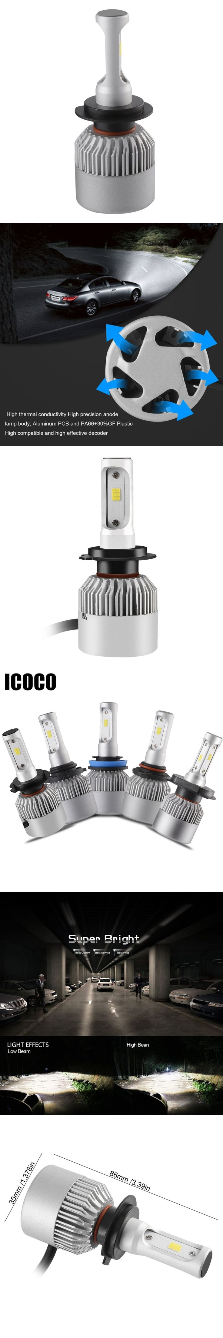 2Pcs H4 LED 12V H7 H11 H8 9005 9006 Car Headlights 6500K 72W 8000LM High Low Beam Bulb All In One Automobile Lamp H7 LED Bulbs