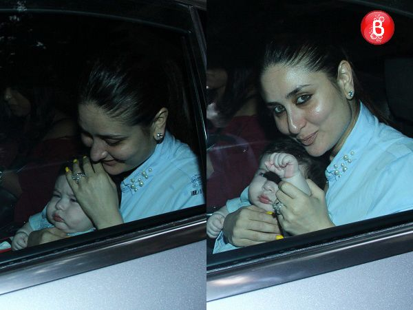 Nestled in mommy Kareena Kapoor Khan's lap, baby Taimur gives a royal wave to the paparazzi