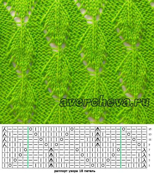 узор спицами 578 «простые листики»   каталог вязаных спицами узоров