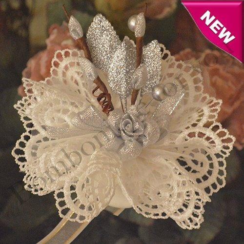 Italian Doily Wedding Favor Bomboniere with Silver Flower myitalianfavors.com™
