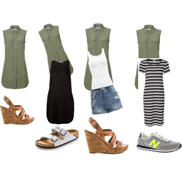 Green dress three ways by jasmine-adisbeth on Polyvore featuring мода, T By Alexander Wang, Equipment, Wolford, Pieces, Birkenstock, Jessica Simpson and New Balance