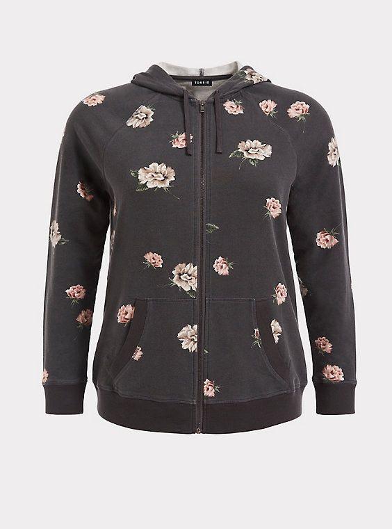 418986502957e Grey Floral Zip Hooded JacketGrey Floral Zip Hooded Jacket