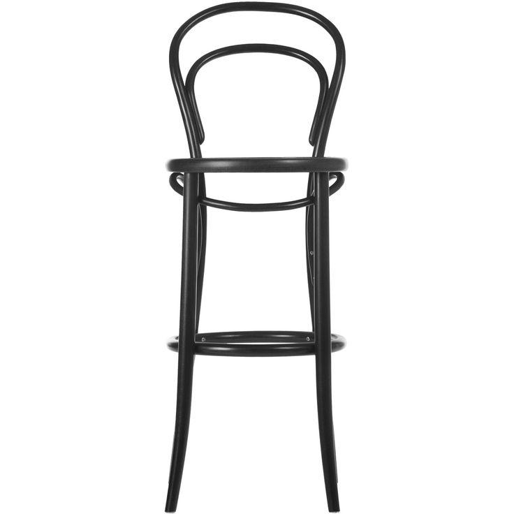 """No14 barstol H61, svart från Ton. Barstool 14' är en vidareutveckling av Michael Thonets stol 'Chair 14' från 1859. Stolen räknas fram till våra dagar som """"stolarnas stol"""" och t.o.m. 1930 tillverkades den i cirka 50 miljoner exemplar. Stolen fick en guldmedalj vid världsutställningen i Paris 1867"""