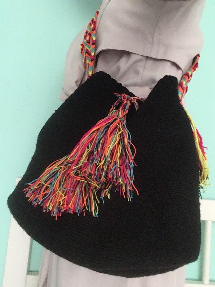 Zwarte Mochila #schoudertas #Colombia #Wayuu #fairtrade www.hippybag.nl