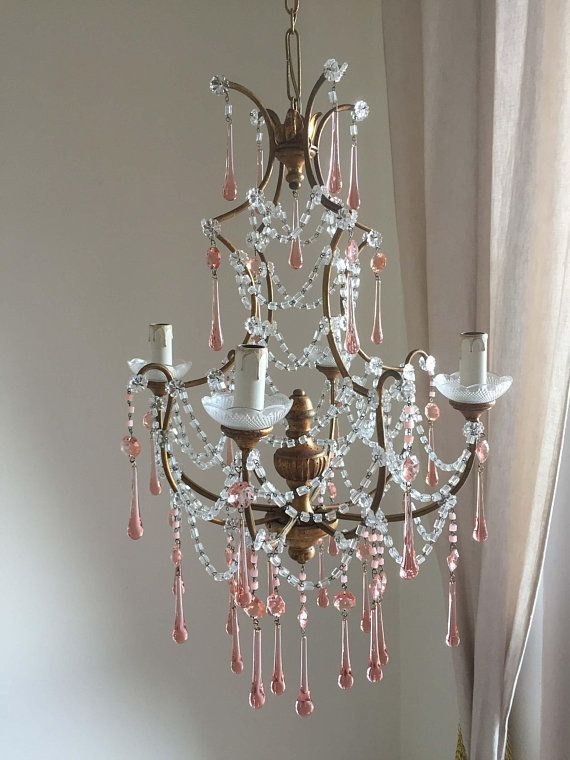 On Sale 1920 Italian Antique Wood Crystal Chandelier Macaroni Beads And Pink Murano Drops Us And Canada Compatible