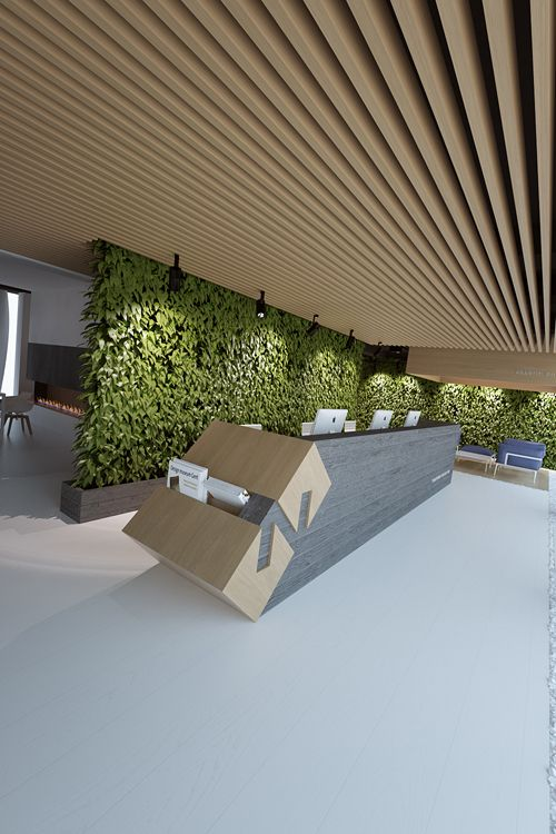 Live green wall and wooden slats in the ceiling.