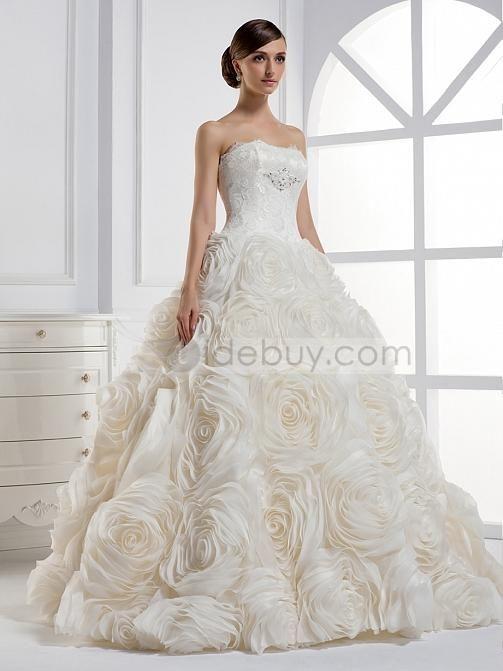 Elegant A Line Strapless Ball Gown Floor Length Wedding Dress Tidebuy
