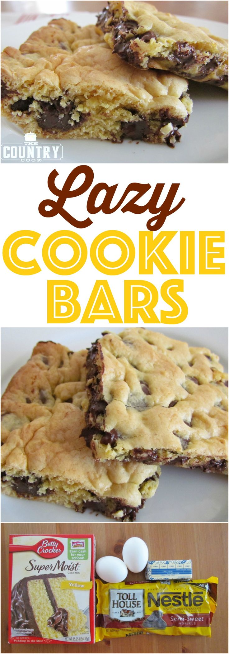 Lazy Chocolate Chip Cookie Bars are made with a boxed cake mix and butter and chocolate chips. So tender and yummy. We make these all the time! (Baking Eggs Butter)