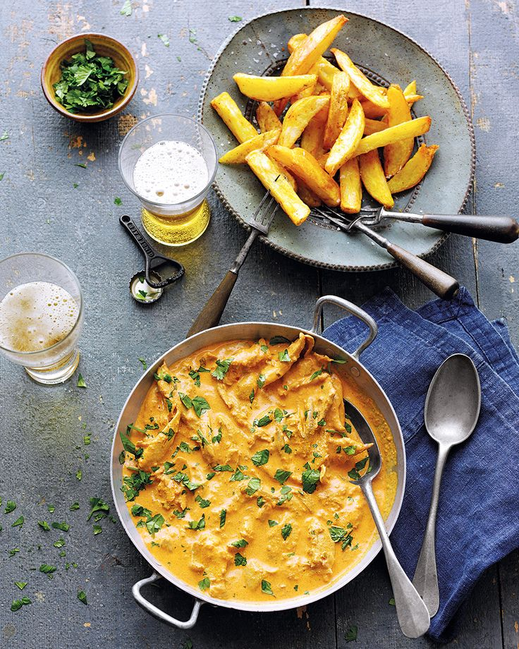 Dunking an Indian-spiced chip into creamy chicken masala curry is surely comfort food at it's finest. Lisa Markwell's recipe is one to enjoy with friends and a cold beer or two.