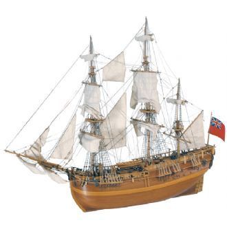 HMS ENDEAVOUR - Launched in 1765. She was prepared three years later for a voyage under the command of Captain James Cook. During this voyage, Australia was discovered and Tahiti and numerous islands were sighted. She returned to England in 1771 bringing back all kinds of animals and vegetables unknown to Europe.