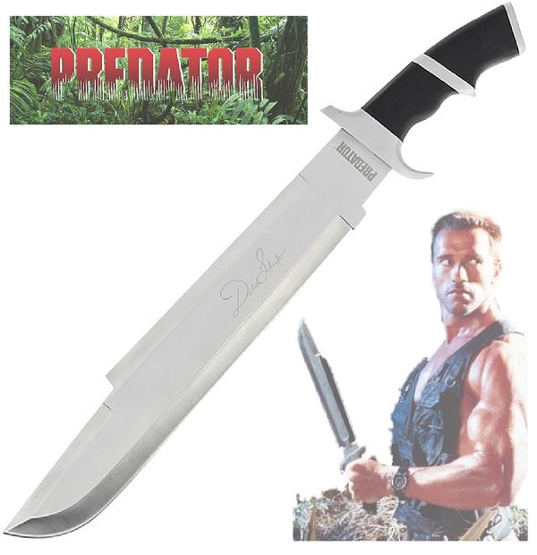 "This is a large, heavyweight replica of the knife from the classic 1987 Arnold Schwarzenegger film Predator. Arnie uses this knife (machete really) as the character Major ""Dutch"" Schaeffer."
