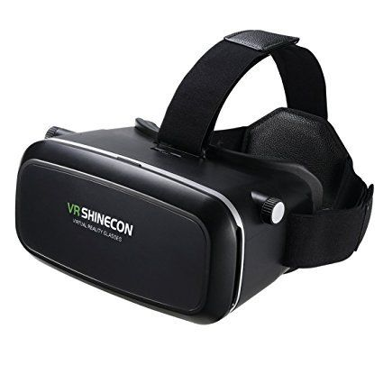 """SHINECON Virtual Reality Immersive Glasses Headset for 3D Videos Movies Games Compatible with Most 3.5""""-6.0"""" iPhone Samsung HTC LG Sony Moto Smartphone (Black)"""
