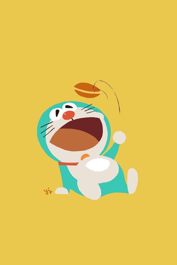 """Doraemon Eats! 4""""X6"""", 5""""X7"""" Digital Art Print. Tribute Art Work For the Famous Japanese Manga Doraemon."""