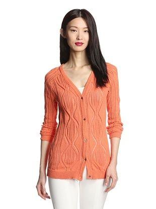 76% OFF SVEE Women's Open Stitch Knit Cardigan (Tangerine)