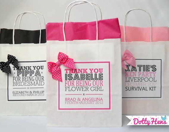 Personalised Favour Party Gift Bags - With Tissue & Bow - Wedding / Birthday / Hen Party