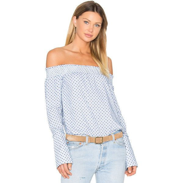 DEREK LAM 10 CROSBY Long Sleeve Off The Shoulder Blouse (5,495 MXN) ❤ liked on Polyvore featuring tops, blouses, long sleeve polka dot blouse, print top, smock top, print blouse and sleeve blouse
