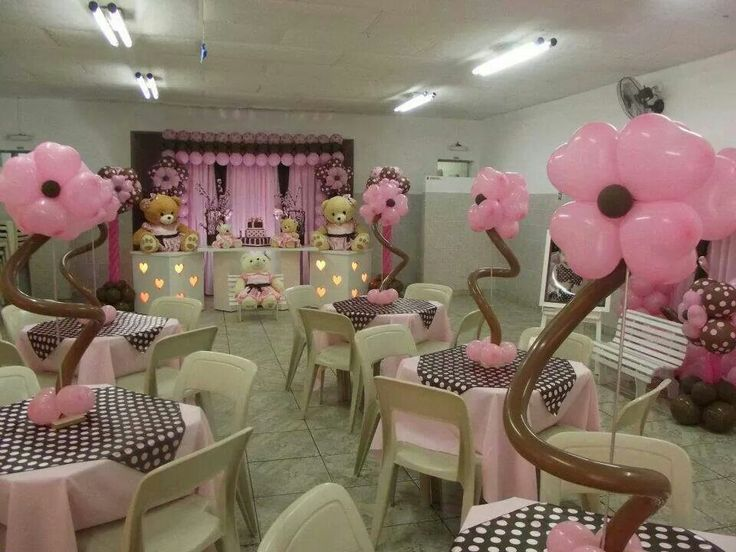 Teddy bears and pink flowers birthday theme