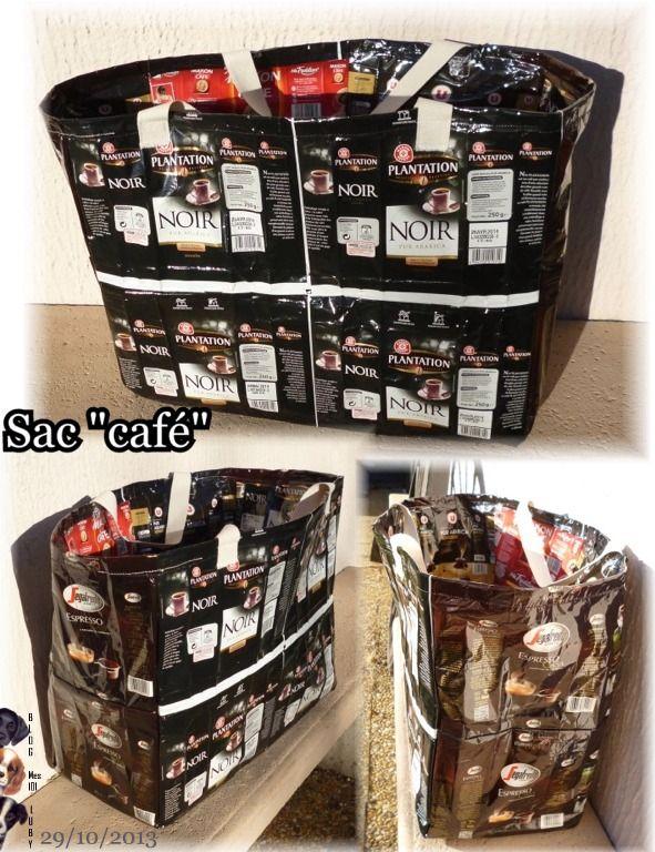 Bonjour, Il y a quelques temps j'ai vu sur différents forums et sur le net, une idée géniale : Faire un sac avec des paquets de café. J'ai concrétisé l'idée car les filles de mon club...