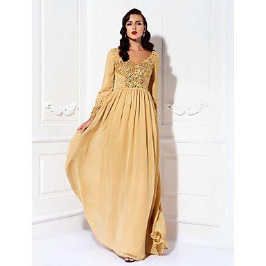 Mother of the Bride Dress Floor Length Chiffon A Line V Neck Dress – USD $ 149.99