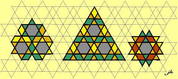 kleurrijke wiskunde-betegelingen-ontwerpen via regelmatige zeshoeken
