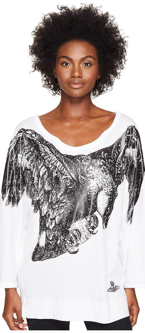 Vivienne Westwood Eagle Batwing T-Shirt (Optical White) Women's T Shirt - Vivienne Westwood, Eagle Batwing T-Shirt, 65078011-116-CT-9100, Apparel Top Shirt, T Shirt, Top, Apparel, Clothes Clothing, Gift, - Fashion Ideas To Inspire