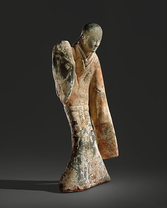Female Dancer, Western Han dynasty (206 B.C.–A.D. 9) China, Earthenware with slip and pigments