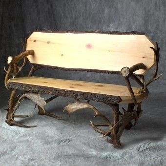Elk & Fallow Deer Antler Bench.  Use as a bench in the mud room in hunting cabin or in the foyer.