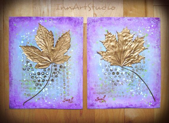 *Original art work for the price of print. Acrylic knife painting on heavy duty canvas paper. Unframed. You can use any picture or photo frame for the painting to match your interior colors. *Real dry local Niagara leaves and pastel colors make the set look contemporary and rear to fined. Leaves are attached to the paper and painted with liquid gold leaf. The background is acrylic knife painting. *100% handmade. ORIGINAL, NOT A PRINT. *Hand signed and dated at the back, Hand signed at front…