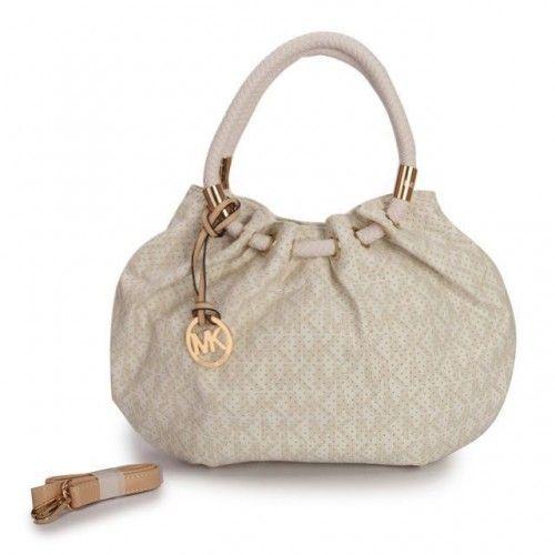 Michael Kors Perforated Logo Medium Ivory Drawstring Bags