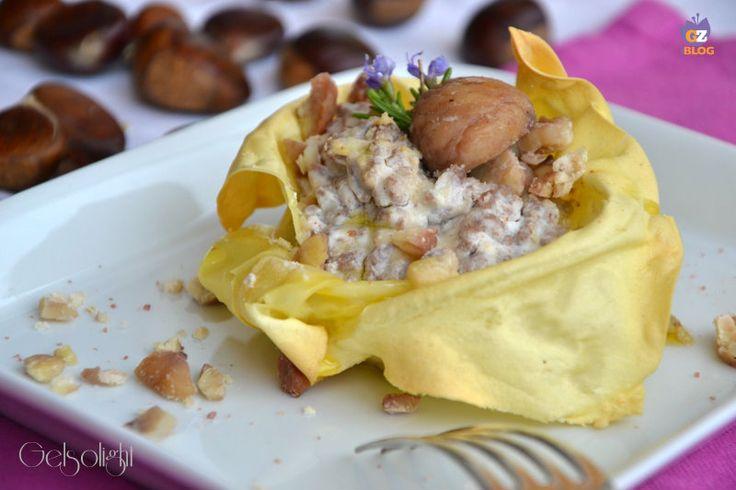 Lasagnetta aperta con ragù bianco e marroni