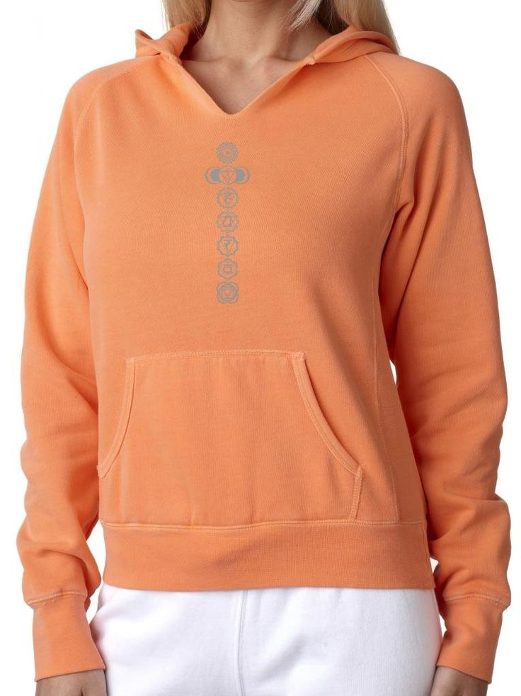 "Ladies 7 CHAKRAS Raw-Edge Hoodie Sweatshirt, 2XL Melon Orange. This beautiful, vibrant-colored hoodie features all 7 chakra symbols!. Cozy comfort in amazing colors detailed with fun, distressed raw edges. 80% Ringspun cotton - 20% Polyester. Distressed raw edges on neckline and front pouch pocket. ""Yoga Clothing for You"" guarantees your satisfaction on every purchase!."