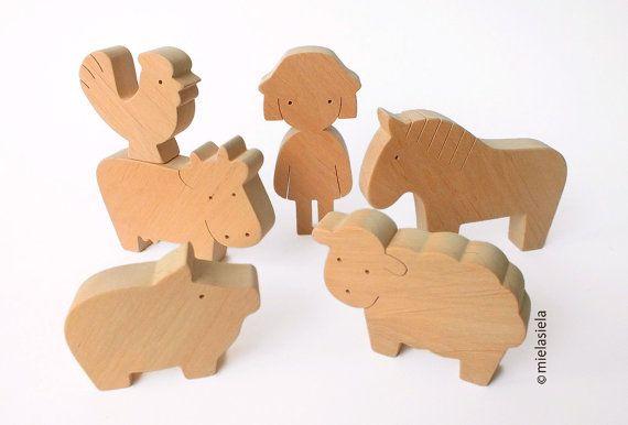 Wooden Toy Farm Animals  Farm set  Barnyard farm by mielasiela