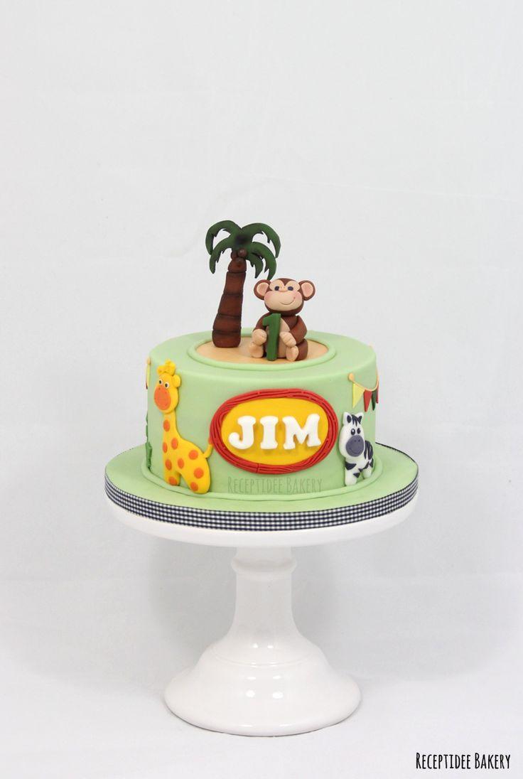 Safari taart voor Jim   Van harte gefeliciteerd met je verjaardag!  http://bakery.receptidee.nl #safari #birthdaycake #birthday #verjaardag #verjaardagstaart #vanille #vanillecake #fondant #monkey #aap #giraffe #zebra #leeuw #lion #palmboom #customcake #safaricake #safaritaart