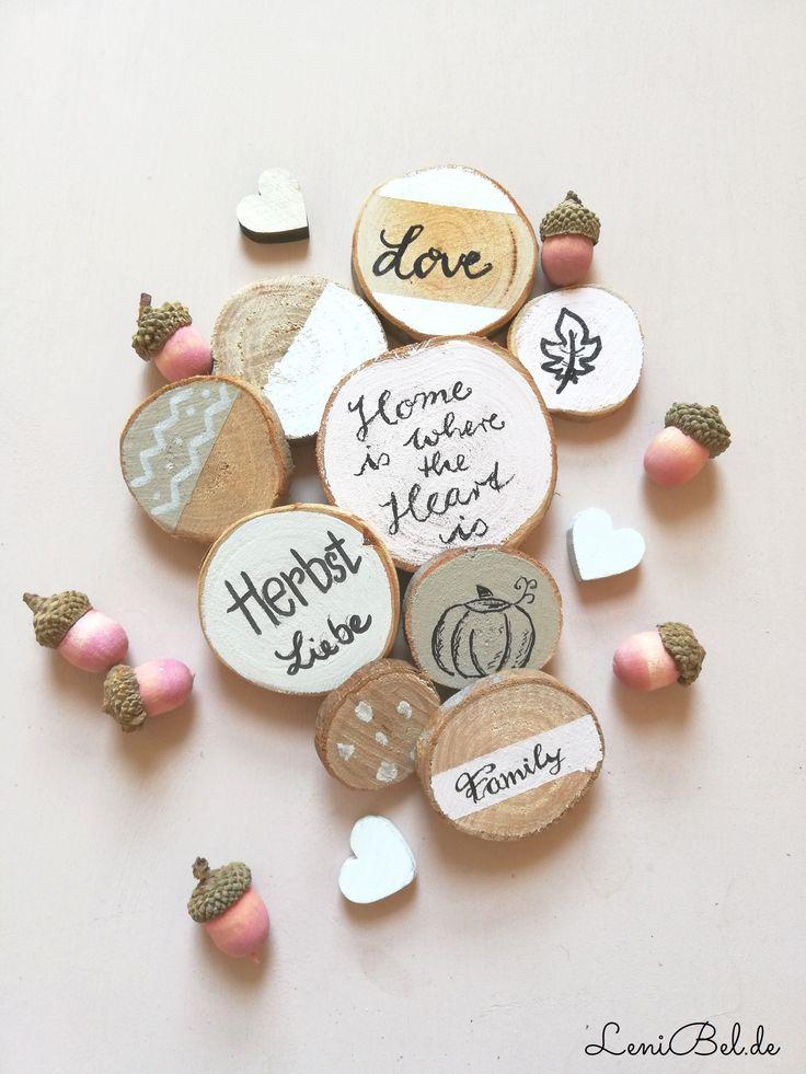 super Machen Sie Herbstdekoration aus Holzscheiben
