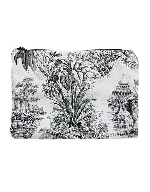 La Labuan è una clutch in puro cotone percalle stampato con una fantasia monocromatica, ispirata all' India, all' interno è completamente foderata in panama nero, con un comodo taschino.