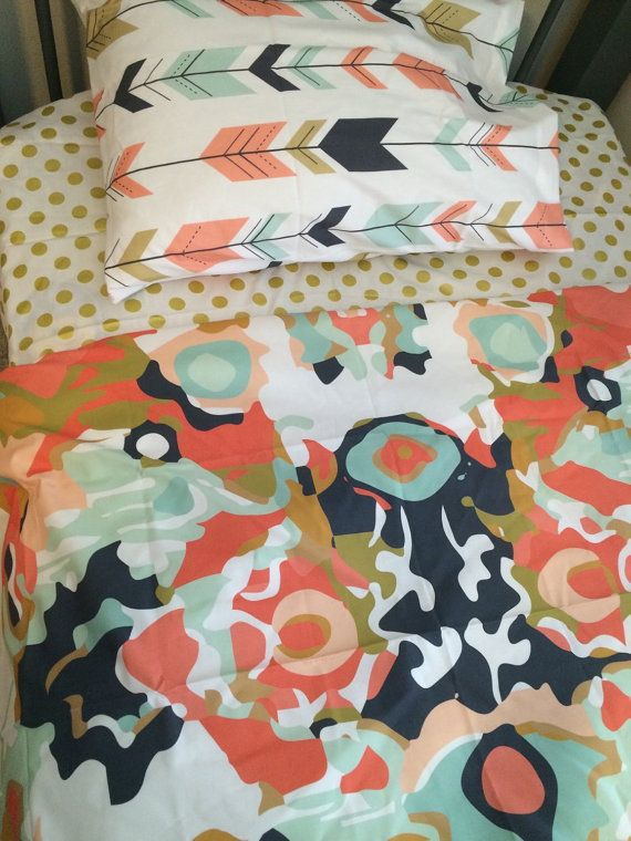 Twin/ dorm/ full size bedding avalible in toddler twin or full size shown in coral navy and gold