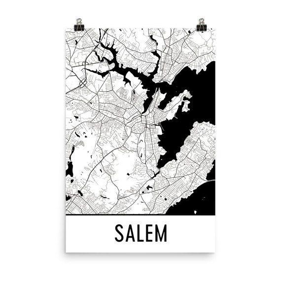 Salem Map Art Print, Salem Massachusetts Art Poster, Salem Wall Art, Map of Salem, Salem Print, Modern, Salem Art, Salem Gift, Salem Poster