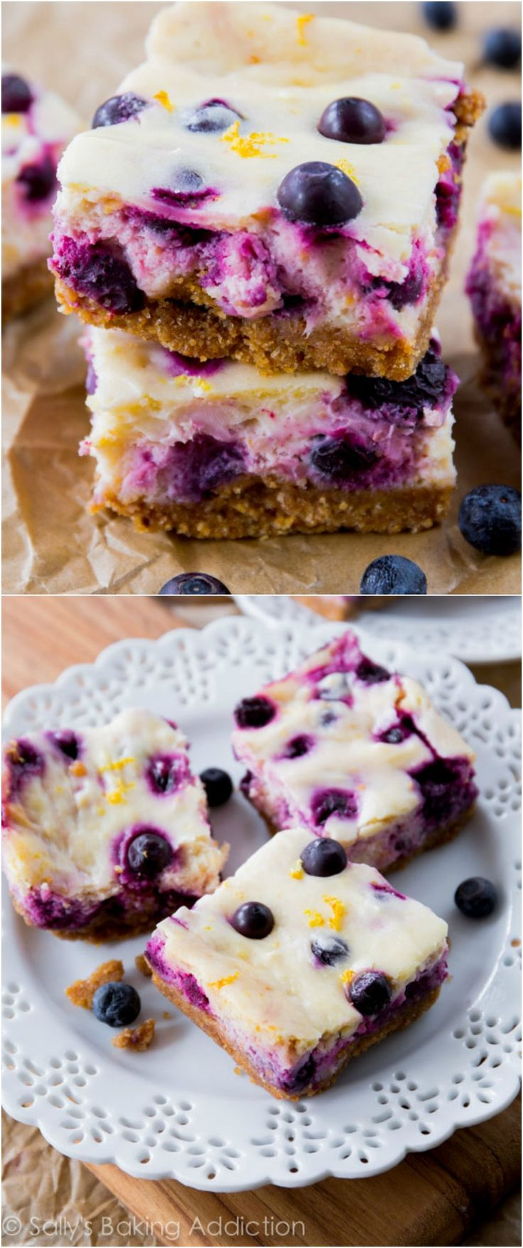 Creamy lemon cheesecake bars dotted and swirled with juicy blueberries. All on top of my favorite buttery graham cracker crust!