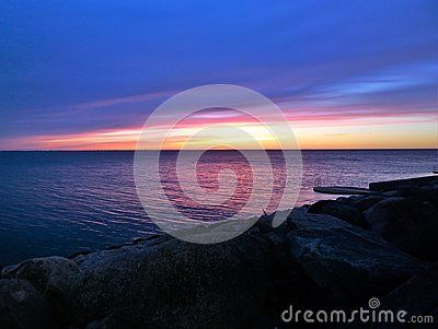 A shot of colorful sky right after sunset in Malmo, Sweden.